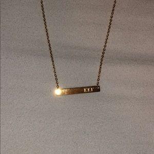 Kappa kappa gamma bar gold necklace